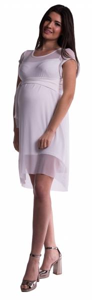 Be MaaMaa Těhotenské šaty se šifonovým přehozem - bílé - L