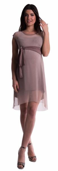 Be MaaMaa Těhotenské šaty se šifonovým přehozem - cappucino - M