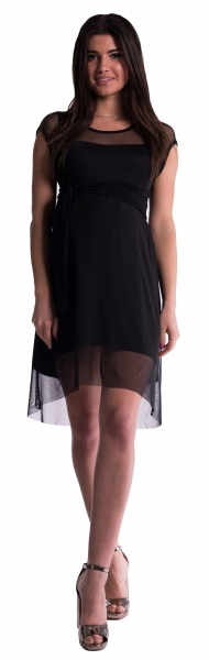 Be MaaMaa Těhotenské šaty se šifonovým přehozem - černé - L