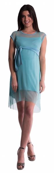 Be MaaMaa Těhotenské šaty se šifonovým přehozem - máta - vel. S