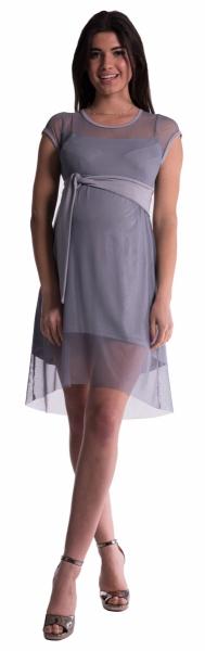 Be MaaMaa Těhotenské šaty se šifonovým přehozem - šedé
