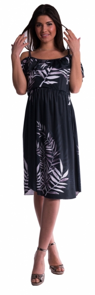 Be MaaMaa Těhotenské šaty na ramínkách - černé