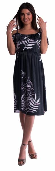 Be MaaMaa Těhotenské šaty na ramínkách - černé - L/XL