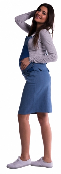 Be MaaMaa Těhotenské šaty/sukně s láclem - modré - M