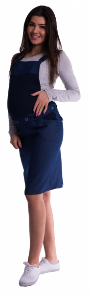 Be MaaMaa Těhotenské šaty/sukně s láclem - tm. modré