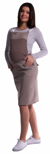 Be MaaMaa Těhotenské šaty/sukně s láclem - cappucino, Velikost: S (36)
