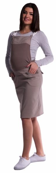 Be MaaMaa Těhotenské šaty/sukně s láclem - cappucino - M, Velikost: M (38)