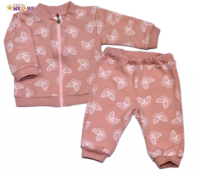 Bavlněná tepláková souprava Baby Nellys ® - Motýlci/pudrově růžová, Velikost: 56 (1-2m)