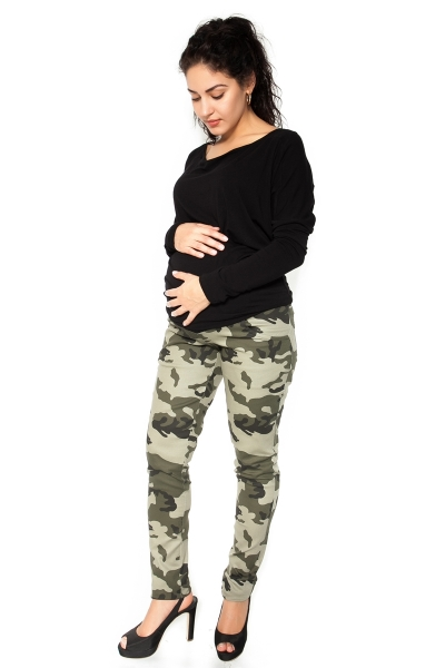 Těhotenské tepláky,kalhoty maskáčové - zelené - S