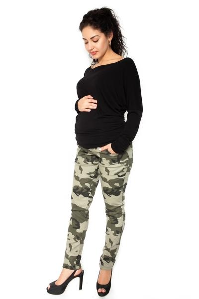 Be MaaMaa Těhotenské tepláky,kalhoty maskáčové - zelené - M