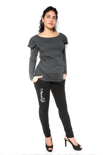 Be MaaMaa Těhotenské tepláky,kalhoty MOM life - černé - XL