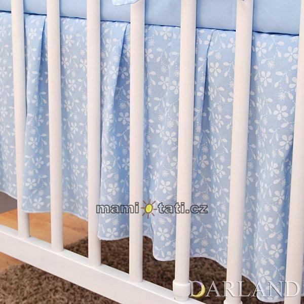 Krásný volánek pod matraci - Květinky modré