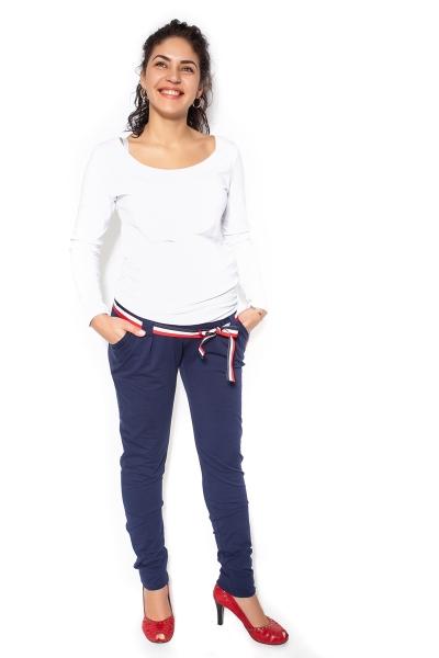 Těhotenské tepláky,kalhoty MONY - tm. modré - XL, Velikost: XL (42)