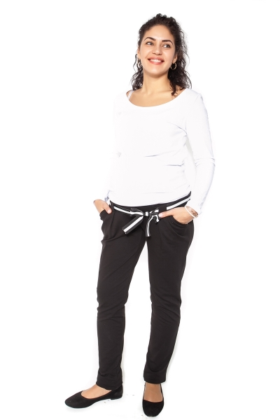Be MaaMaa Těhotenské tepláky,kalhoty MONY - černé - XL