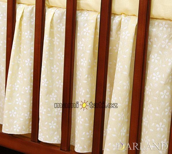 Krásný volánek pod matraci - Květinky krémové