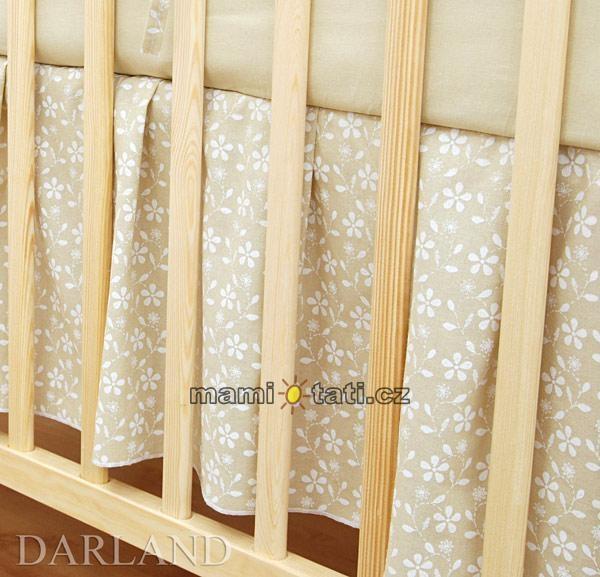 Krásný volánek pod matraci - Květinky béžové