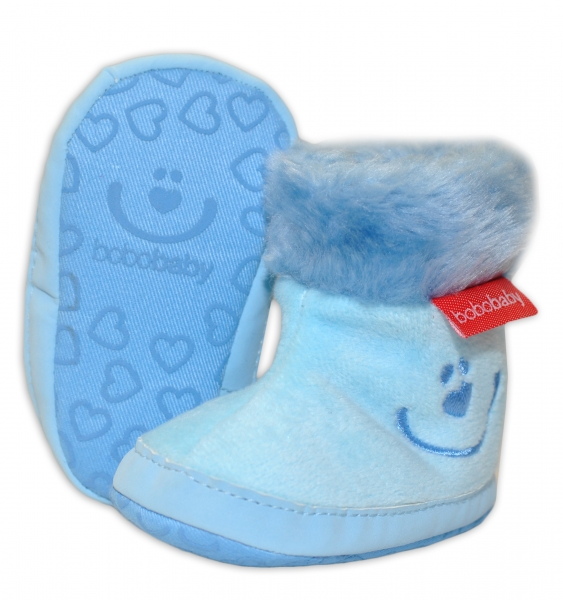 Zimní capačky/botičky BOBO BABY s kožíškem  - Méďa - sv. modré - 12/18M