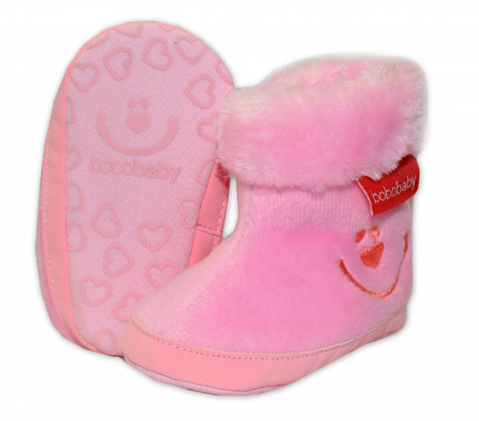 Zimní capačky/botičky BOBO BABY s kožíškem  - Méďa - sv. růžové, Velikost: 3/6měsíců