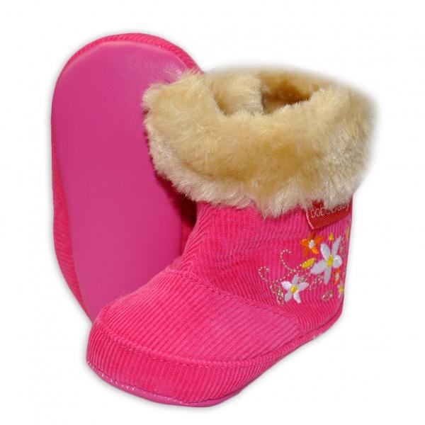 Manšestrové  zimní capačky/botičky BOBO BABY s kožíškem - Kytičky - tm. růžové, Velikost: 3/6měsíců