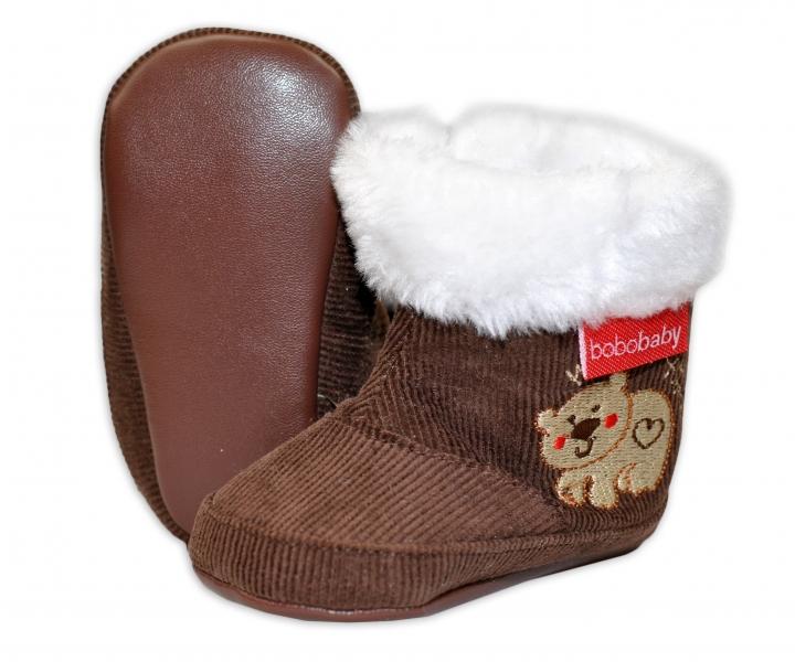 Manšestrové  zimní capačky/botičky BOBO BABY s kožíškem - Medvídek - hnědé, Velikost: 3/6měsíců