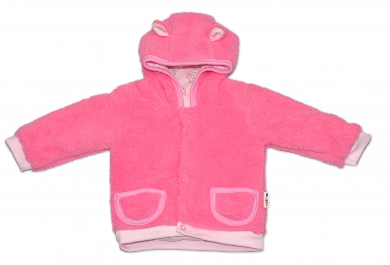 Chlupáčkový kabátek, mikinka  Baby Nellys ® - růžový - vel. 86
