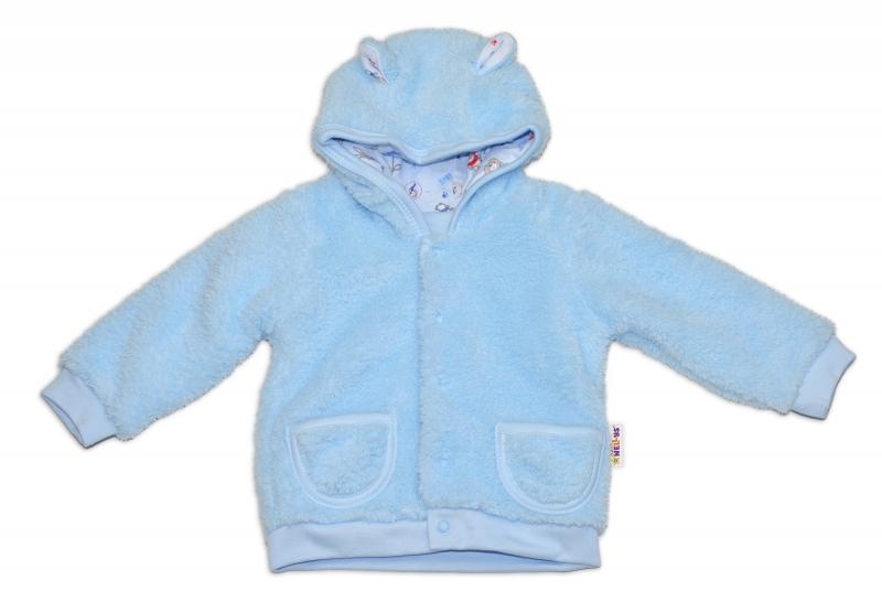 Chlupáčkový kabátek, mikinka  Baby Nellys ® - modrý - vel. 86