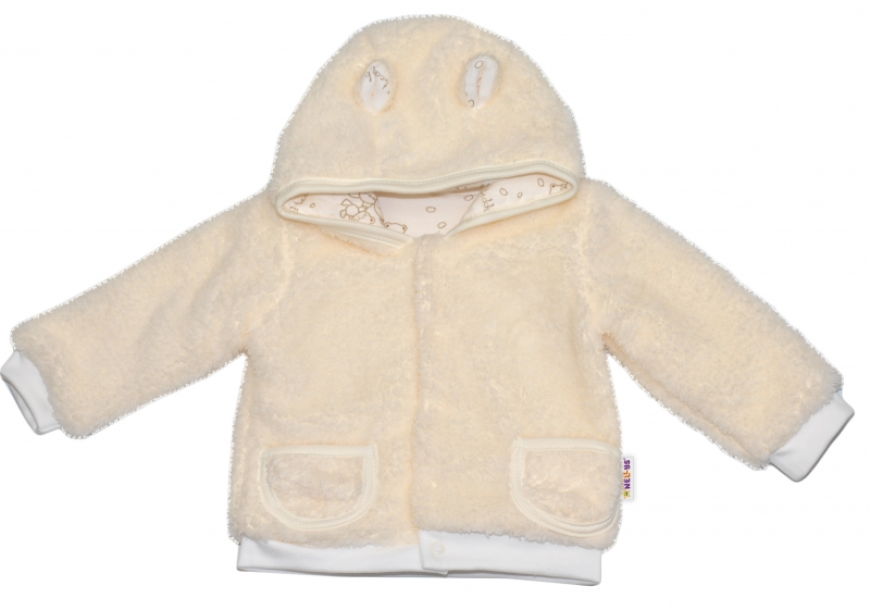 Chlupáčkový kabátek, mikinka  Baby Nellys ® - smetanový -  vel. 74