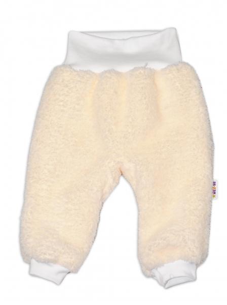 Chlupáčkové kalhoty, tepláčky  Baby Nellys ® - smetanové - vel. 68, Velikost: 68 (4-6m)