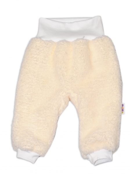 Chlupáčkové kalhoty, tepláčky  Baby Nellys ® - smetanové - vel. 74