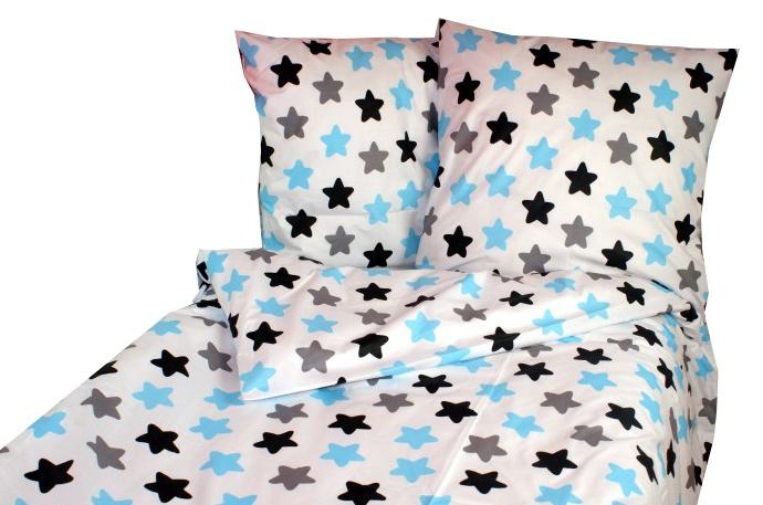 Baby Nellys Bavlněné povlečení 140 x 200/70 x 90 - barevné hvězdičky - modré, černé