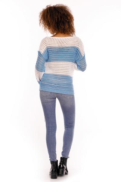 Be MaaMaa Ažurkový svetřík DUET melírkovaný - modrá jeans