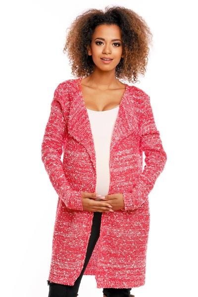 Dlouhý perličkový kabátkový svetřík PENY melírkový - červený