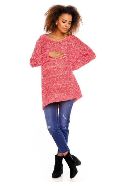 Be MaaMaa Perličkový tunikový svetřík LORY melírkovaný - červený