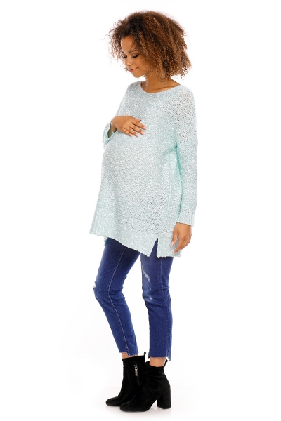 Be MaaMaa Perličkový tunikový svetřík LORY melírkovaný - mátový