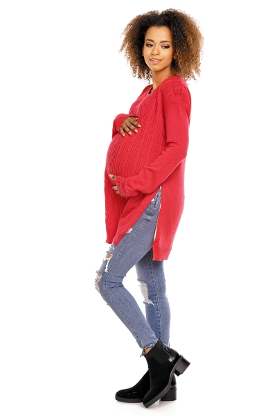 Be MaaMaa Těhotenský, kojící svetřík Ally - červený