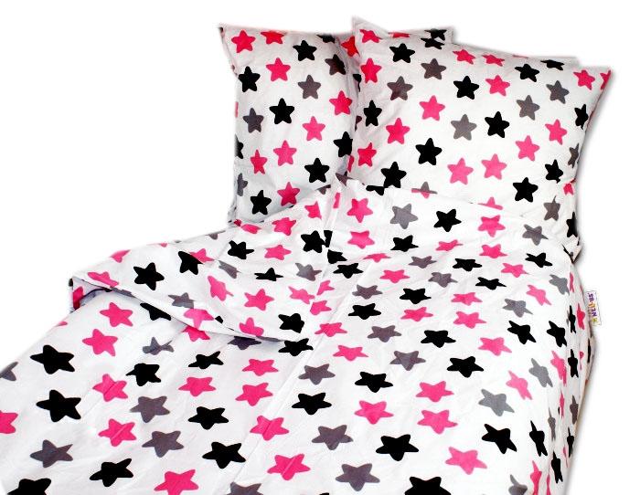 Bavlněné povlečení Baby Nellys ® 140 x 200 - barevné hvězdičky - růžové