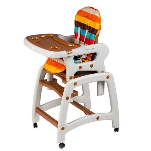 Jídelní stoleček, houpačka ECO TOYS 3v1 - hnědý