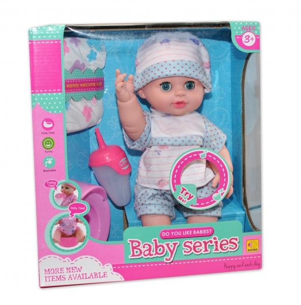 Panenka, miminko čůrající, pijící, mluvící - modrá (k.:EBZ2095-2, věk 3+)