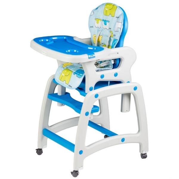 Eco toys Jídelní stoleček, houpačka 3v1 - modrý