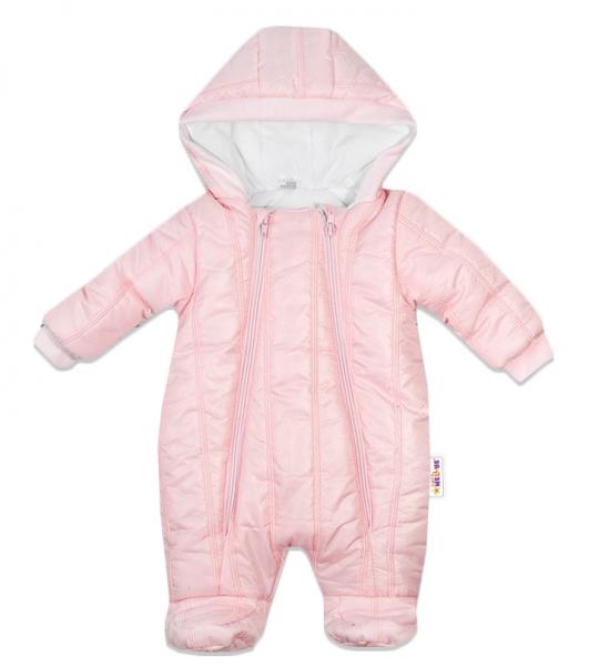 Kombinézka s kapuci LUX Baby Nellys ®prošívaná/kostičky - sv. růžová