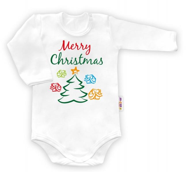 Body dlouhý rukáv vel. 68, Merry Christmas -  bílé, Velikost: 68 (4-6m)