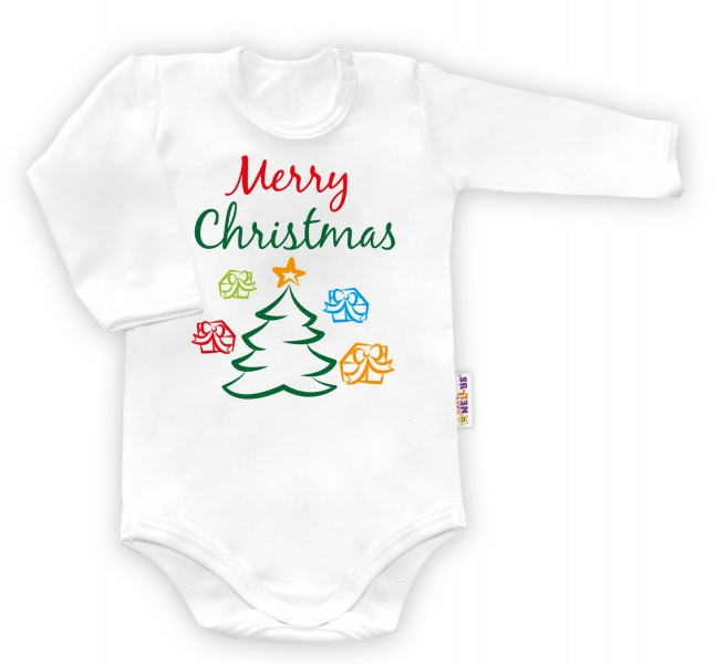 Baby Nellys Body dlouhý rukáv vel. 86, Merry Christmas - bílével. 86 (12-18m)