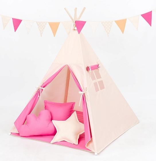 Mamo Tato Stan pro děti teepee, týpí bez výbavy - béžový / tmavě růžový