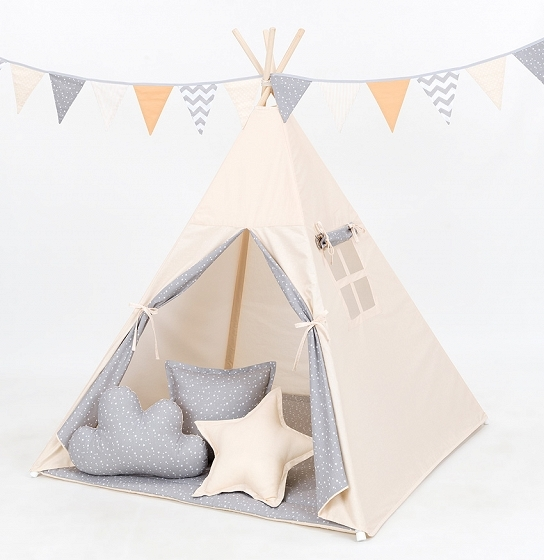 Stan pro děti teepee, týpí bez výbavy - béžový / mini hvězdičky bílé na šedém