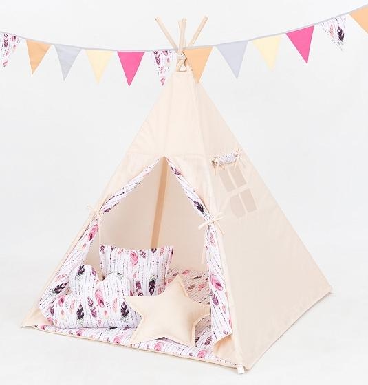 Mamo Tato Stan pro děti teepee, týpí bez výbavy - béžový / růžová pírka