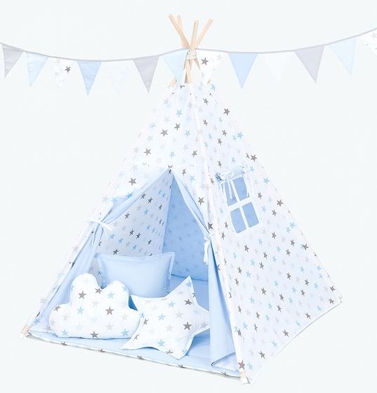 Mamo Tato Stan pro děti teepee, týpí bez výbavy - hvězdy šedé a modré / světle modrý