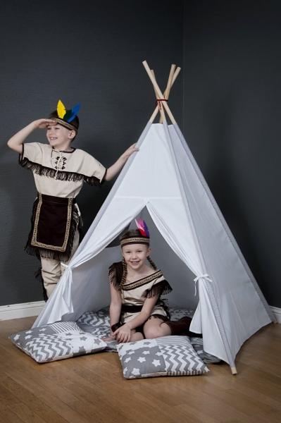 Stan pro děti teepee, týpí s výbavou - béžový/mini hvězdičky bílé na šedém