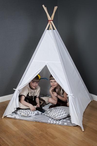 Stan pro děti teepee, týpí s Výbavou  - béžový/růžová pírka
