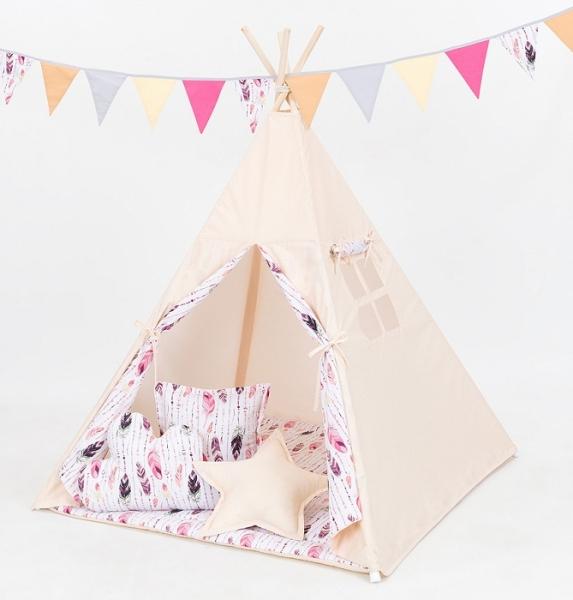 Mamo Tato Stan pro děti teepee, týpí s Výbavou  - béžový/růžová pírka