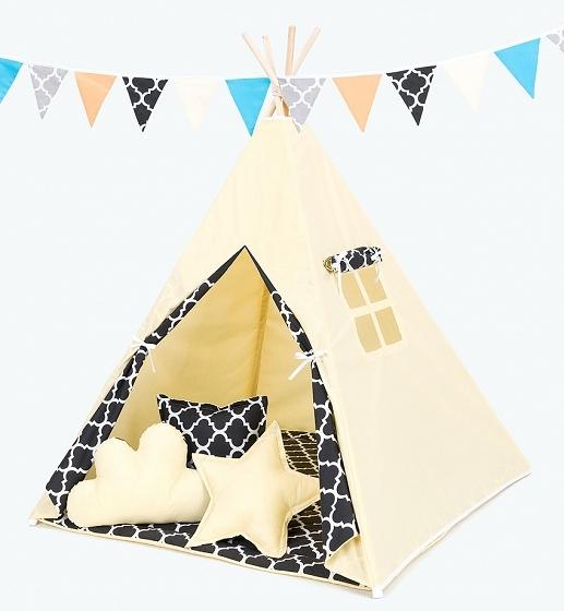 Stan pro děti teepee, týpí s Výbavou citronový/maroko černé